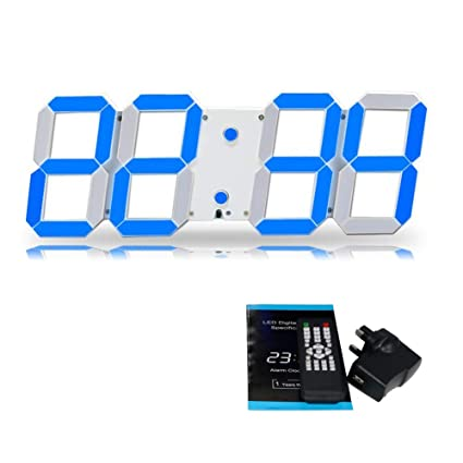 T Tocas Reloj de pared digital LED Cuarzo Fecha temperatura calendario control remoto Para oficinas, despachos, comercios,Bar Cafetería-azul