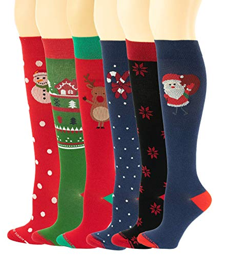 6 Pairs Pack Women Travelers, Anti-Fatigue, Graduated Compression Knee High Socks 9-11 (Christmas)]()