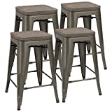 Cheap JUMMICO Metal Bar Stools Indoor-Outdoor Stackable Kitchen Dining Chair with Wooden Square Seat 24-Inch Cafe Chairs Gun Metal Modern Barstools (Set of 4)