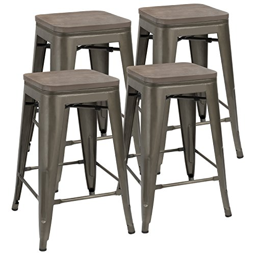 JUMMICO Metal Bar Stools Indoor-Outdoor Stackable Kitchen Dining Chair with Wooden Square Seat 24-Inch Cafe Chairs Gun Metal Modern Barstools (Set of 4)