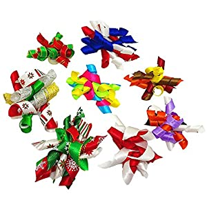 PET SHOW Pet Small Dogs Hair Bows with Rubber Bands Cat Hair Accessories Grooming Supplies Curly Colorful Pack of 20