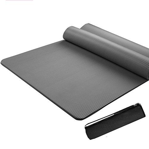 Tapis De Yoga écologique TPE 15mm épaisse Avec Sangle De Transport élargi Et Allonger Anti-dérapant Fitness Pilates Tapis De Camping (185cm * 80cm),Grey-L185cm*W80cm*H15mm