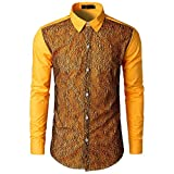 kaifongfu Shirt,Autumn Men's Long Sleeve Lace Ptchwork Shirts Top Blouse(Yellow,S)