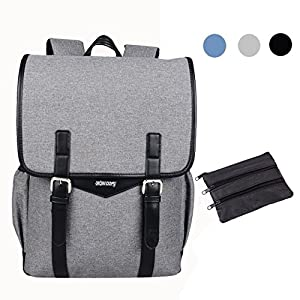 SHAOLONG Canvas Water Repellent Laptop Backpack 15.6 Inch Computer Bag Business Bag School Backpack Traveling Backpack Gray