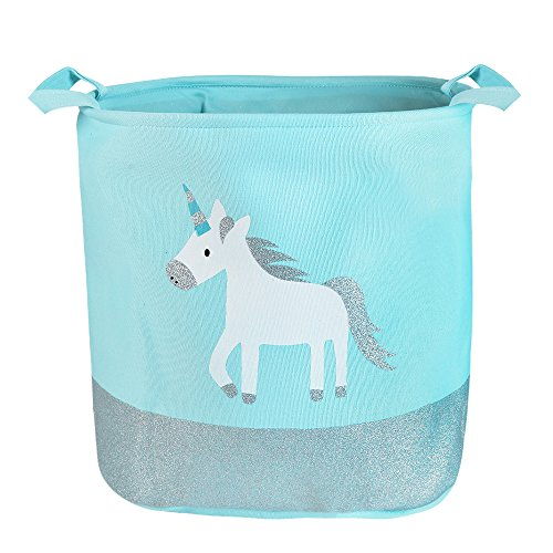 "Urijk Unicorn Toy Storage Basket, Baby Hamper Kid Girl Laundry Basket Nursery Hamper, Waterproof Cute Cartoon Round Canvas Foldable Toy Organizer for Office Bedroom Dorm, Dia 13"" x 16""H (Blue Unicorn) by Urijk"