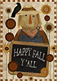 Toland Home Garden 1012201 Happy Fall Y'all 28 x 40 inch Decorative, Autumn Welcome Scarecrow, House Flag