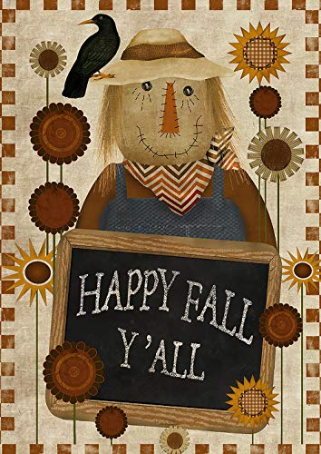 Scarecrow Toland - Toland Home Garden 1012201 Happy Fall Y'all 28 x 40 Inch Decorative, Autumn Welcome Scarecrow, House Flag