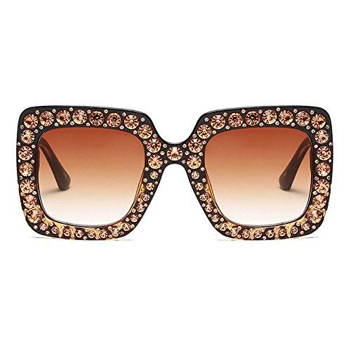 b53092ca0036 Highdas Women Bling Rhinestone Glass Oversized Square Frame Sunglasses C2   Amazon.co.uk  Clothing