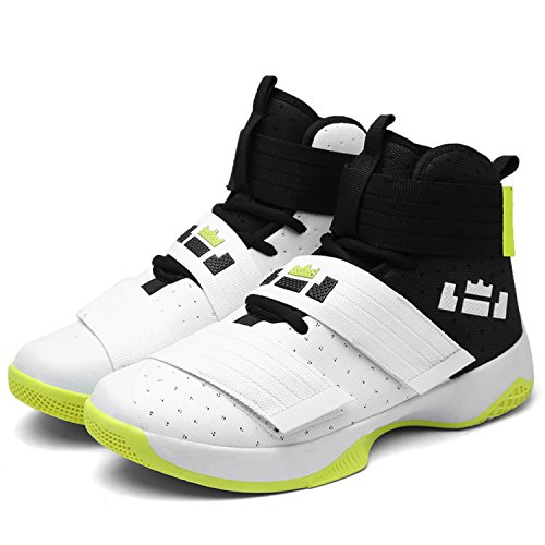 Men Basketball Shoes Court Male Basketball Ankle Boots For Female Couple Anti-Slip Court Sports Sneakers Size 36-45 White Green 10