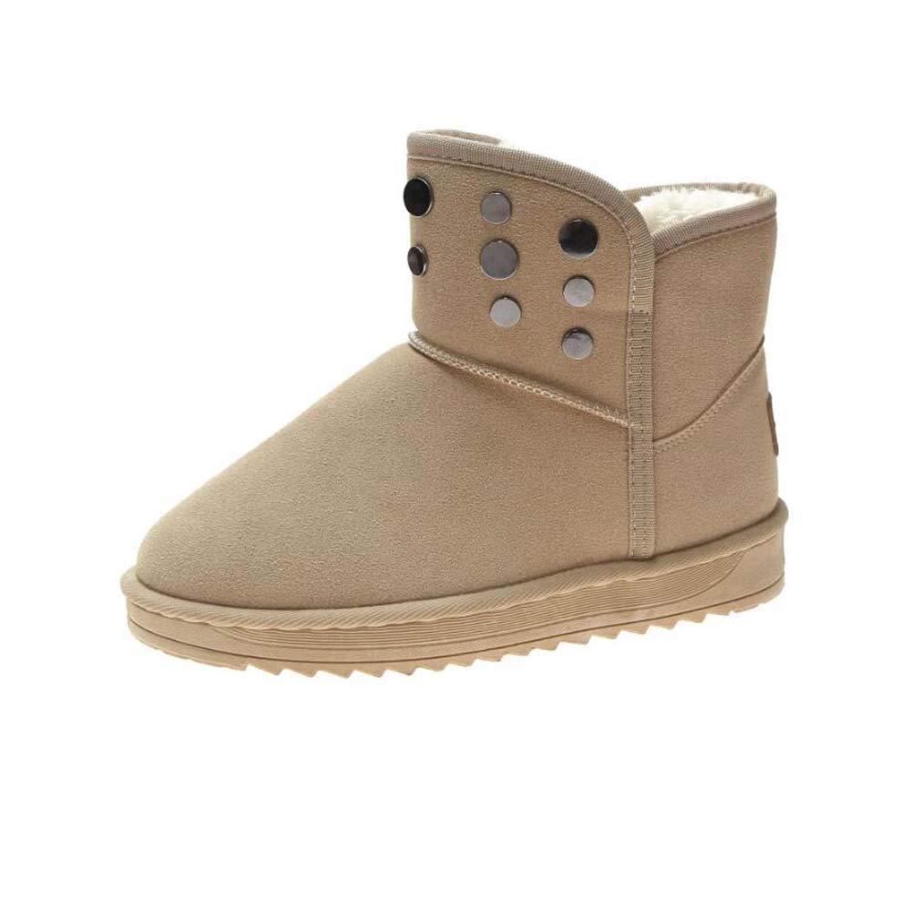 Mamrar Snow Stiefel Damens Heel Round Toe Flat Heel Damens Warm Non-Slip Cotton Stiefel Rivets Outdoor Sport Schuhes Eu Größe 36-40 a3a895