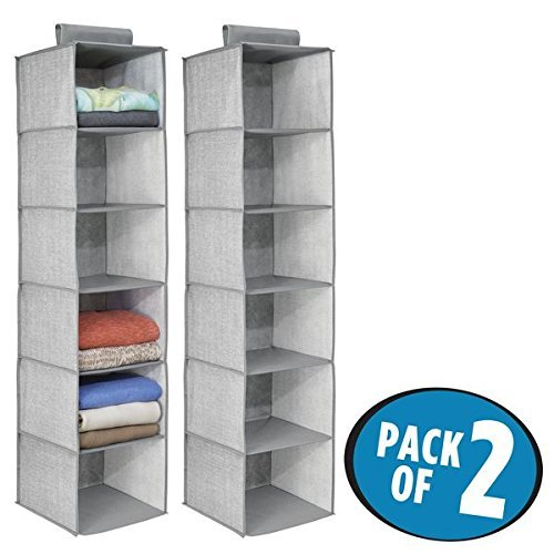 mDesign Fabric Hanging Closet Storage Organizer for Clothing, Sweaters, Shoes, Accessories - Pack of 2, 6 Shelves Each, Gray by mDesign