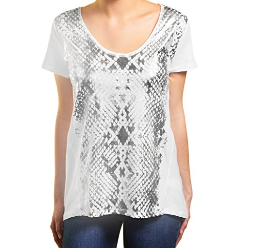 DKNY Jeans Womens Short Sleeve Scoop Neck Tee XL Silver & White ()