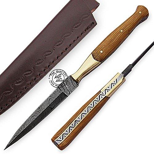 Beautiful Olive Wood Damascus Slim Dagger Hunting Knife, Double Edge Prime Quality