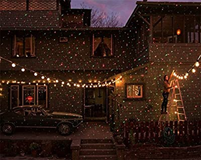 LUCKY-U Outdoor Projector Light, LED Chrismas Projector Colorful Stars Falling Indoor Outdoor Birthday Decoration Waterproof
