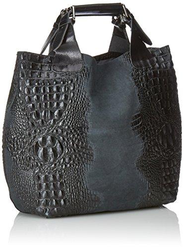CTM Bolsa de mujer del bolso de mano con estampado Animalier, 44x30x13cm, 100% cuero auténtico Made in Italy Azul (Blu scuro)