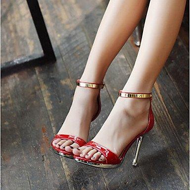 LvYuan-ggx Damen High Heels Fersenriemen PU Frühling Normal Fersenriemen Weiß Schwarz Rot 10 - 12 cm