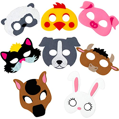 Farm Animal Masks for Kids Party - 8 Felt Masks, Great for Barnyard Farm Themed Birthday Parties, Novelty Dress-up and Halloween