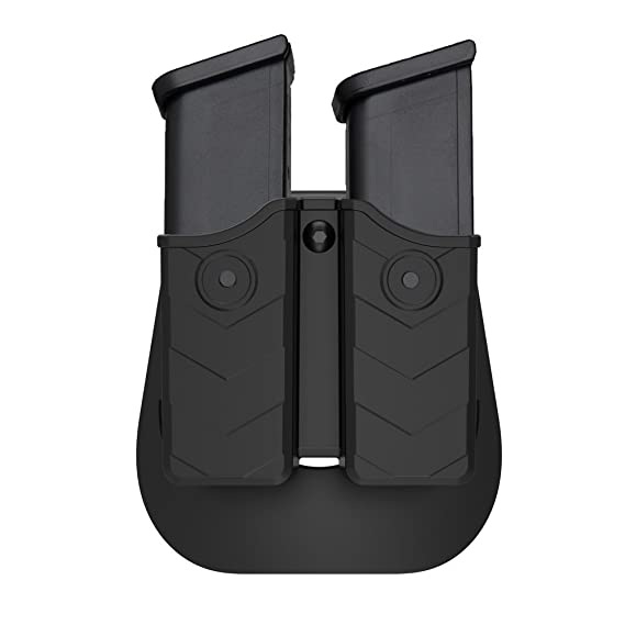 Review Double Magazine Pouch, Dual Stack Mag Holster with Adjustable Paddle, Universal 9mm and .40 Magazine Holder Fits Glock H&K Smith & Wesson Ruger Sig Sauer Browning Taurus Beretta Walther and More