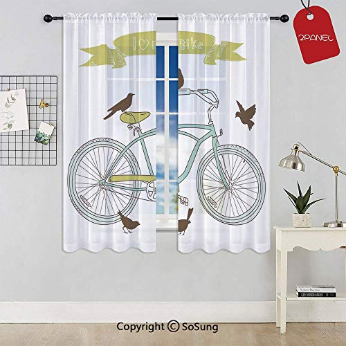 I Love My Bike Concept with Birds on the Seat Cruisers Basic Vehicle Simplistic Art Rod Pocket Sheer Voile Window Curtain Panels for Kids Room,Kitchen,Living Room & Bedroom,2 Panels,Each 52x45 Inch,G
