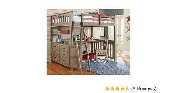 Amazoncom Ne Kids Highlands Full Loft Bed With Desk In Driftwood
