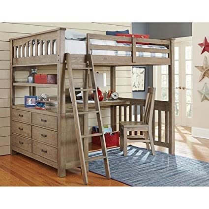amazon com ne kids highlands full loft bed with desk in driftwood rh amazon com wood loft bed with desk underneath wood loft bed with desk and dresser