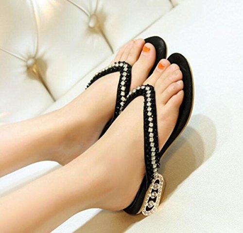 PBXP Flip-Flops OL Chunky Rhinestones Decorazione Heel antisdrucciolevole Comodo Elegant Scarpe Casual Scarpe Respirabile EU Size 34-39 , black , 37