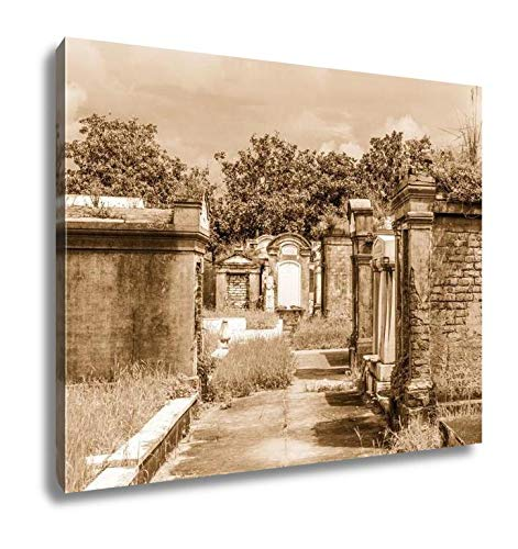 (Ashley Canvas Lafayette Cemetery in New Orleans with Historic Grave Stones, Wall Art Home Decor, Ready to Hang, Sepia, 16x20,)