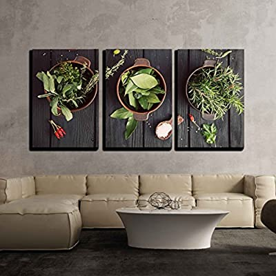 3 Piece Canvas Wall Art - Mediterranean Herbs and Ingredients: Rosemary, Thyme, Sage, Salt, Oregano - Modern Home Art Stretched and Framed Ready to Hang - 24