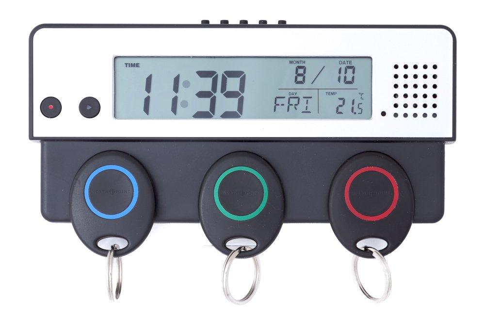 MABAMAHO Portachiavi Titolare con ampio display con temperatura, Ora, Giorno e mese Display + vocale Appunti. Bambini facile da usare. Allcon