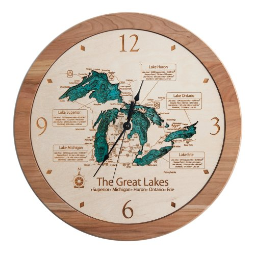 Sanford Clock - Sanford Lake - Midland County - MI - 3D Clock 17.5 in - Laser Carved Wood Nautical Chart and Topographic Depth map.