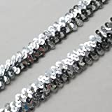 New 10Y Beautiful Sequin Elastic Stretch Ribbon Trim Craft Sewing Trimming (Silver)