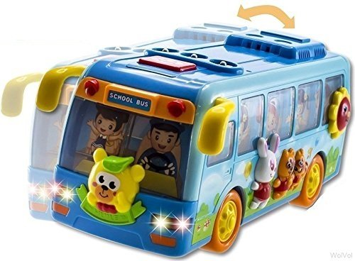WolVol Shaking Blue Mini School Bus Toy for Toddlers Boys an