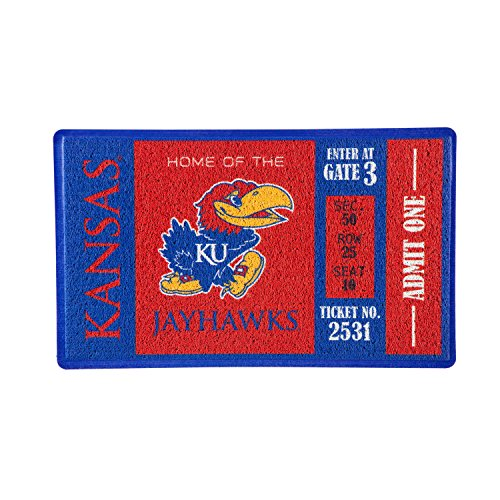 Team Sports America University of Kansas Recyclable PVC Vinyl Indoor/Outdoor Weather-Resistant Team Logo Door Turf Mat