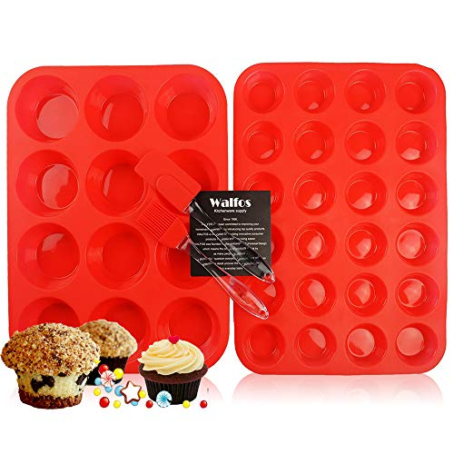 Walfos Reusable Top Silicone Muffin & Cupcake Baking Pan Set (Large 12 & Mini 24 Cup Sizes) / Non Stick cake molds/Dishwasher - Microwave Safe (Red) ()