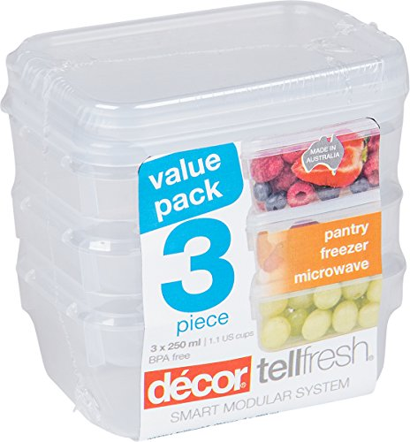 Décor 003051-004 Food Storage Container, 250 mL, Oblong, Pack of 3