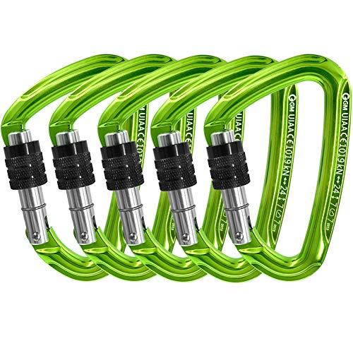 - GM CLIMBING Ultra-Light Screw Locking Carabiner CE UIAA Certified Green Pack of 5