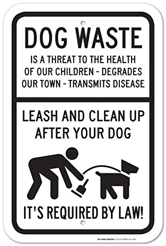 Leash And Clean Up After Your Dog Laminated Sign - Dog Poop Signs - 12