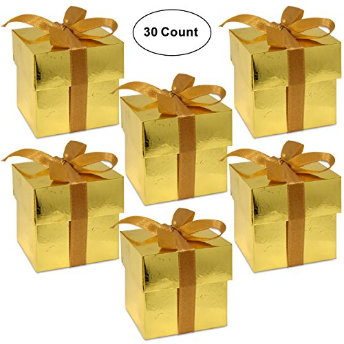 30 Mini Shiny Gold Cube Favor Boxes Craft Kit with Square Lids Guest Candy Goodie Treat Bags Party Supplies Decorations for Wedding Reception Birthday Celebration Baby & Bridal Shower Adult Girls Boys