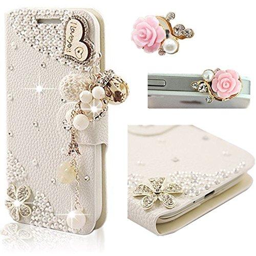 Vandot 2en1 Accesorios Set cubierta tirón del cuero caja del teléfono para Huawei P8 Lite 1x 3D del brillo de Bling Rhinestone bolso de concha de perla diamante Corazon te amo Case - Flor Rose libro s Design 1