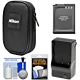 Nikon Coolpix Nylon Digital Camera Carrying Case with EN-EL12 Battery & Charger + Accessory Kit for AW120, AW130, P340, S9900, A900, W300