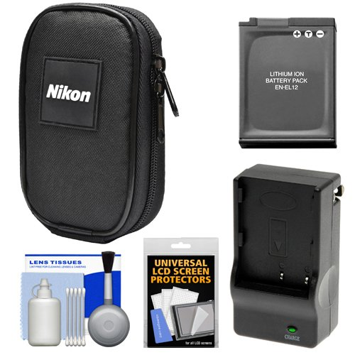 (Nikon Coolpix Nylon Digital Camera Carrying Case with EN-EL12 Battery & Charger + Accessory Kit for AW120, AW130, P340, S9900, A900, W300)