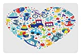 Lunarable Kids Pet Mat for Food and Water, Heart Shaped Collage of Toys for Newborn Baby Boy Train and Alphabet Educational Fun, Rectangle Non-Slip Rubber Mat for Dogs and Cats, Blue Grey
