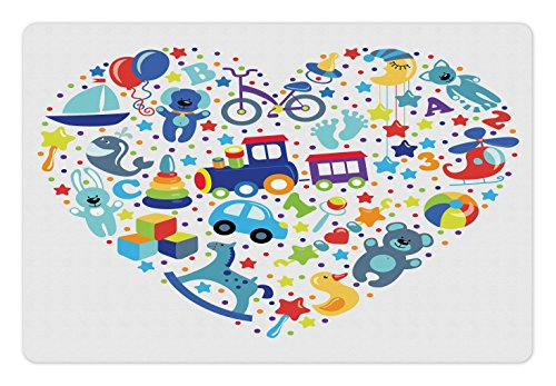 Lunarable Kids Pet Mat for Food and Water, Heart Shaped Collage of Toys for Newborn Baby Boy Train and Alphabet Educational Fun, Rectangle Non-Slip Rubber Mat for Dogs and Cats, Blue Grey by Lunarable