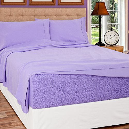 Bed Tite Stretch Fit Brushed Microfiber Soft-Woven Deep Pocket Sheet Set (Full Size, Lilac)