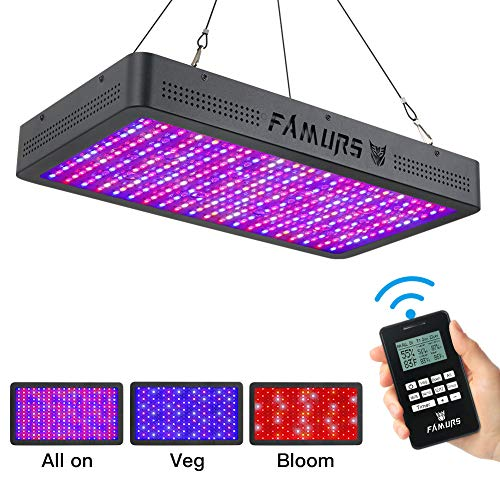 FAMURS 3000W LED Grow Light, Remote Control-Series Grow Lamp with Timer/Thermometer Humidity Monitor and Adjustable Rope,Full Spectrum Plant Light for Indoor Plants Seeding Veg and ()