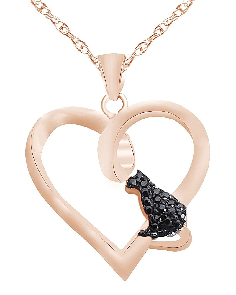 Wishrocks Round Cut Black CZ Love Cat Kitty Pendant Necklace in 14K Gold Over Sterling Silver