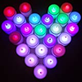 Aenmil® Color Changing Tealights Candles Battery-Operated Quick Flickering Flameless LED Candle Light Tea light with 7 Different Colors Standard Size Fits Into Any Venue or Event - Set of 24