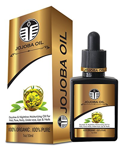 Jojoba oil organic-cuticle-bio-beard-vitamin e-cold pressed-acne scar removal-dark spot corrector and remover-stretch mark-for face-for skin-dry-nail-facial-pure-moisturizer-hair growth-dry scalp treatment-dry hair-frizzy-natural-unrefined-Rejuvenates-Made in USA-Money back guarantee-Limited quantity