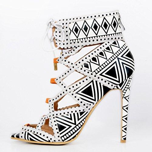 Kolnoo Damenschuhe High Heels Gladiator Sandalen Peep Toe Stiletto Absatz Schnüren Schuhe Mehrfarbig
