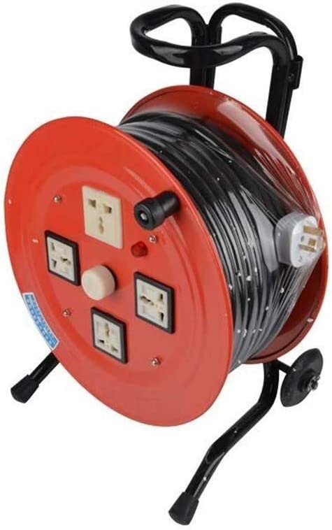 LIFEIYAN Cable Reel Extension Lead With Handle 30-100M 15A 220V Plug Socket Extension Reel With Thermal Cut Out And Power Switch retractable Extension Cord Reel extension cord holder